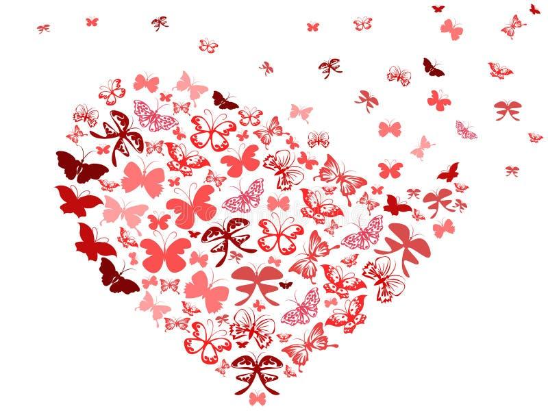 Coração vermelho do vôo da borboleta ilustração royalty free