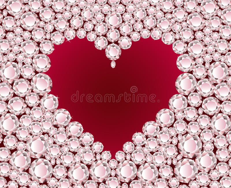 Coração vermelho do vetor no fundo do diamante ilustração do vetor