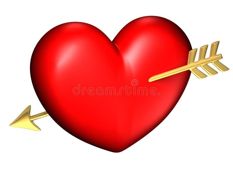 Coração vermelho e chubby grande sozinho ilustração stock