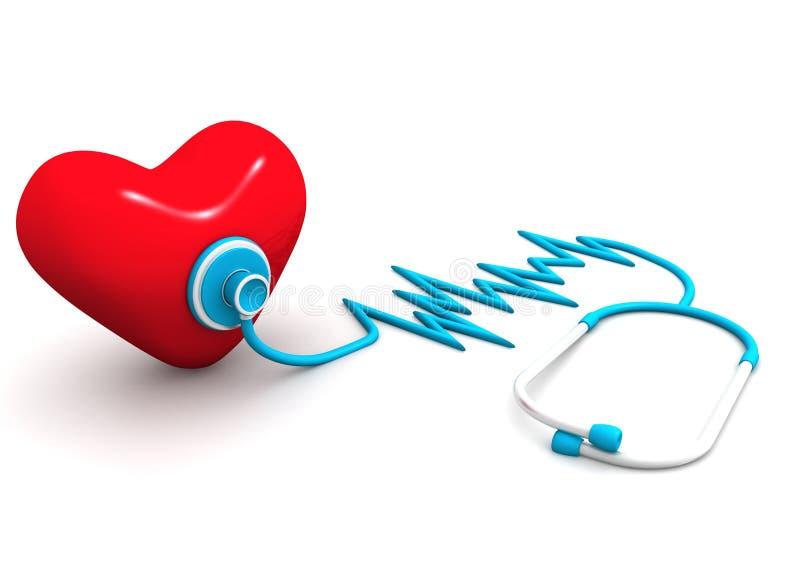 Coração vermelho e um estetoscópio ilustração do vetor
