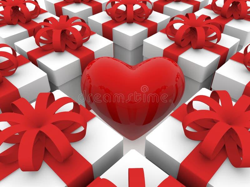 Coração vermelho entre fileiras das caixas de presente ilustração royalty free