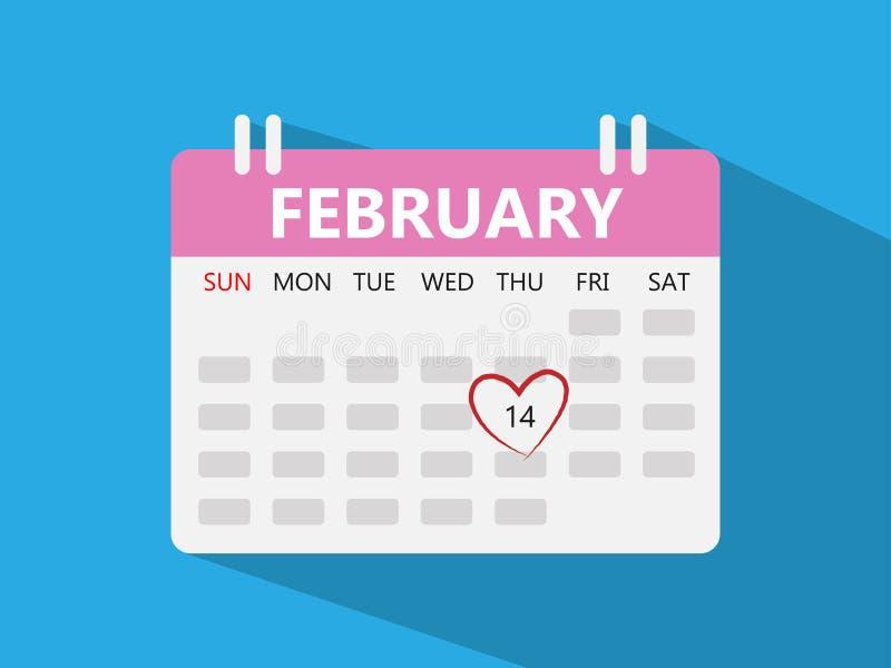 Coração vermelho escrito sobre calendário o 14 de fevereiro - o dia de Valentim ilustração do vetor