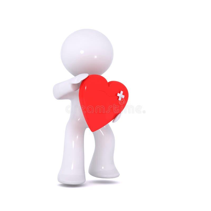 Coração vermelho ferido ilustração do vetor