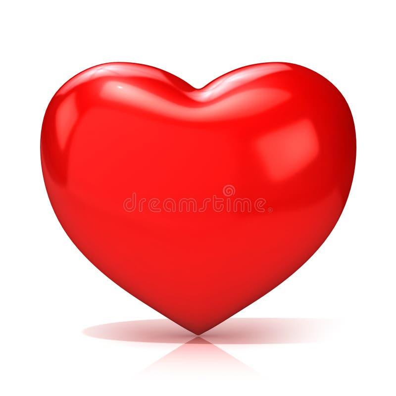 Coração vermelho grande 3d rendem Front View ilustração royalty free