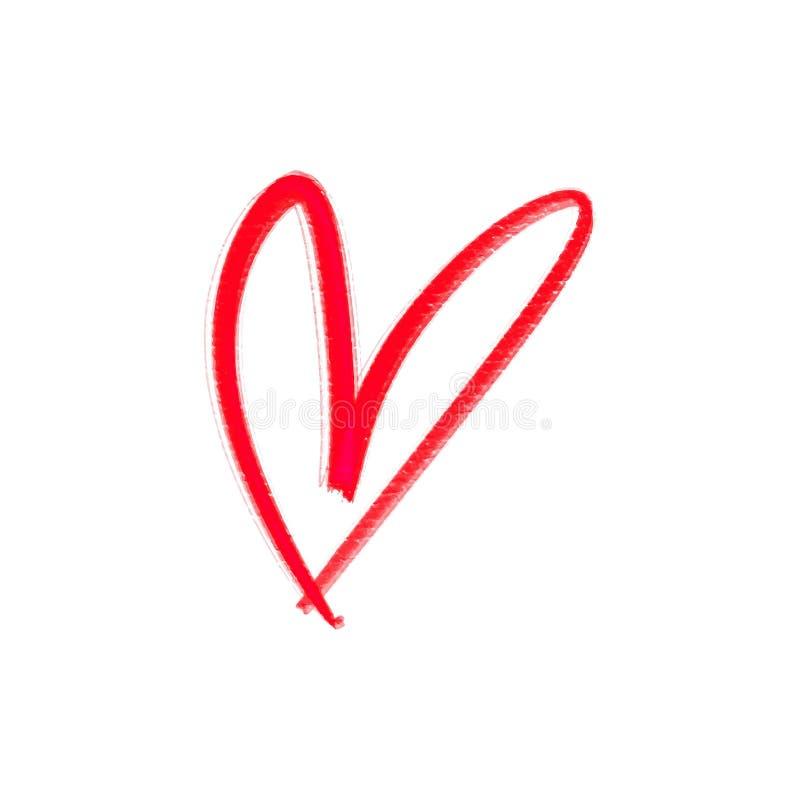 Coração vermelho isolado no fundo branco Elemento à moda do cartão do dia de Valentim Pintura tirada mão ilustração royalty free