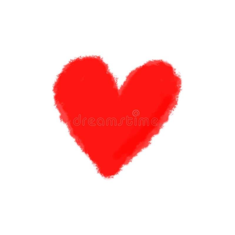 Coração vermelho isolado no fundo branco Elemento à moda do Valentim \ 'do cartão do dia de s Pintura tirada mão ilustração royalty free