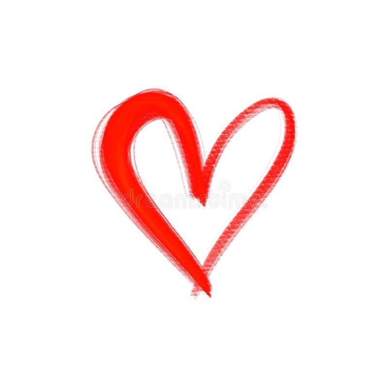 Coração vermelho isolado no fundo branco Elemento à moda do Valentim \ 'do cartão do dia de s Pintura tirada mão ilustração stock