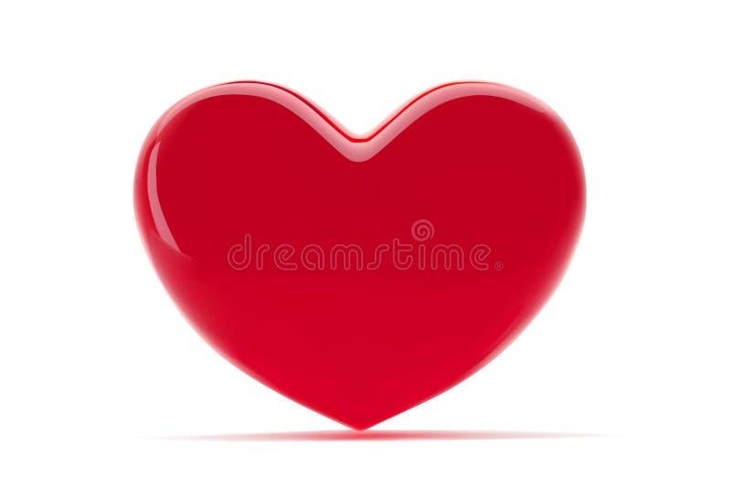 Coração vermelho isolado no fundo branco Símbolo dos Valentim do St ilustração 3d realística com um coração vermelho do Valentim ilustração stock