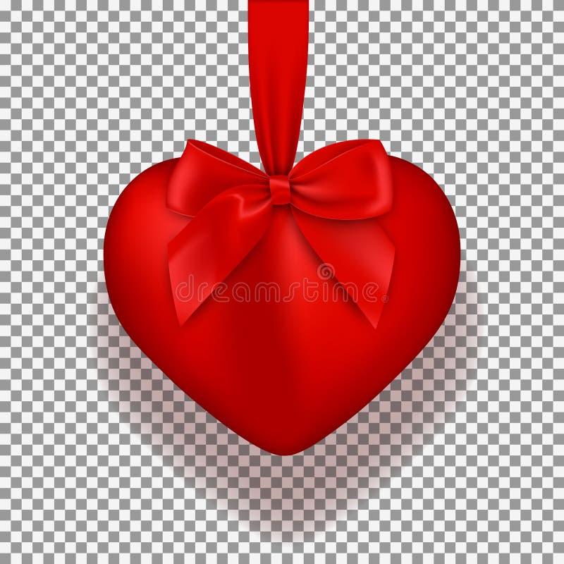 Coração vermelho isolado no fundo transparente ilustração stock