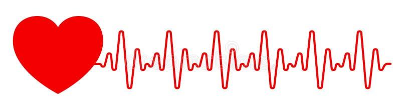 Coração vermelho, linha do pulso um, sinal do cardiograma, pulsação do coração - para o estoque ilustração do vetor