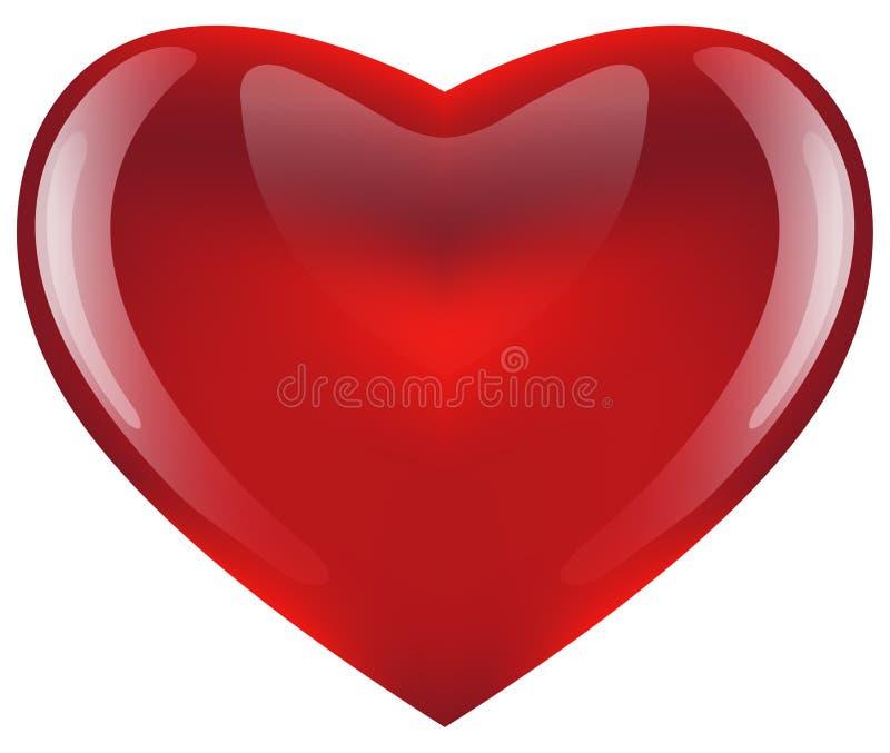 Coração vermelho lustroso ilustração do vetor