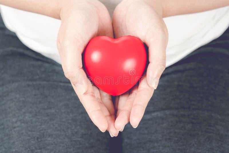 Coração vermelho na mão da mulher gravida fotografia de stock royalty free