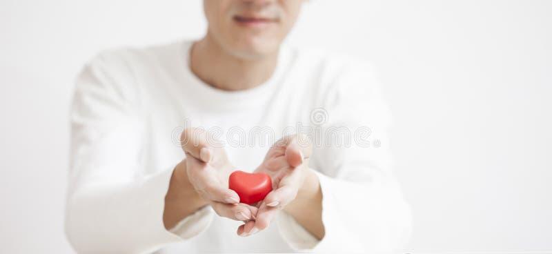 coração vermelho nas mãos do homem, na medicina da saúde e no concep asiáticos da caridade imagens de stock