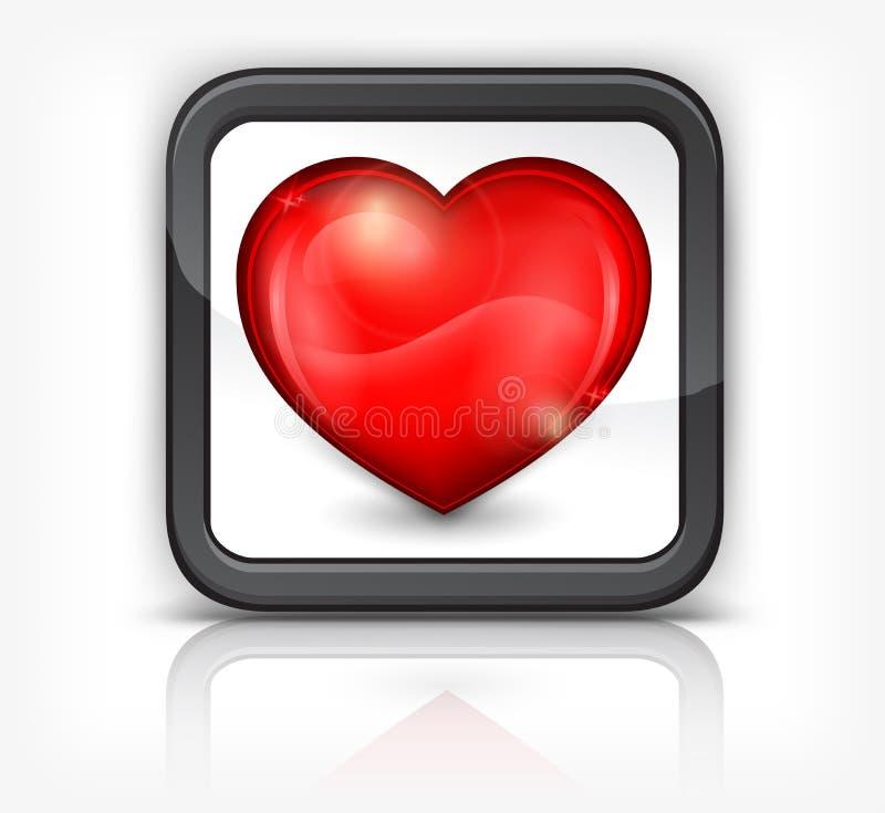 Coração vermelho no botão quadrado ilustração royalty free