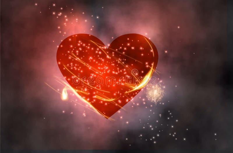 Coração vermelho no espaço fotos de stock