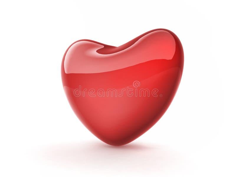 Coração vermelho no fundo branco ilustração do vetor