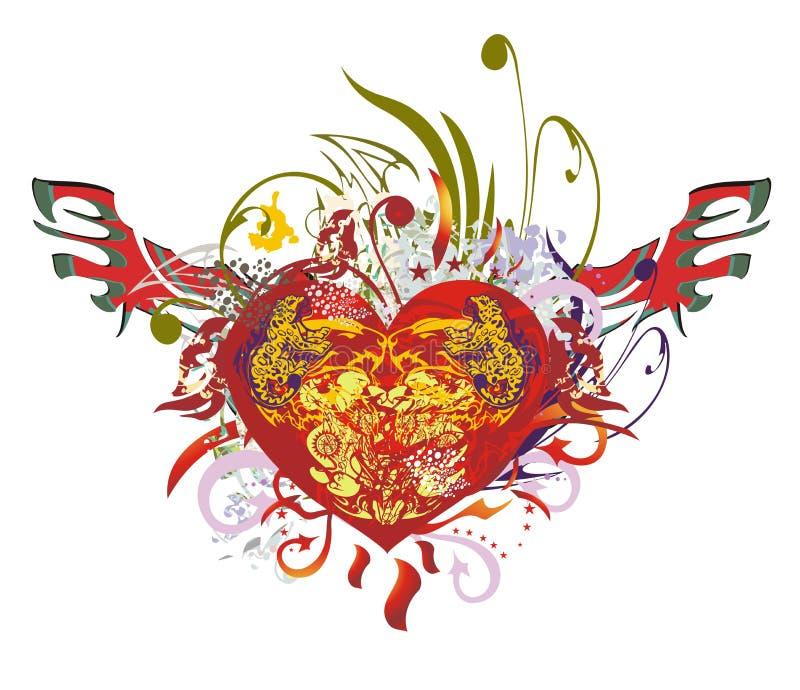 Coração vermelho ornamentado do Grunge com asas ilustração do vetor