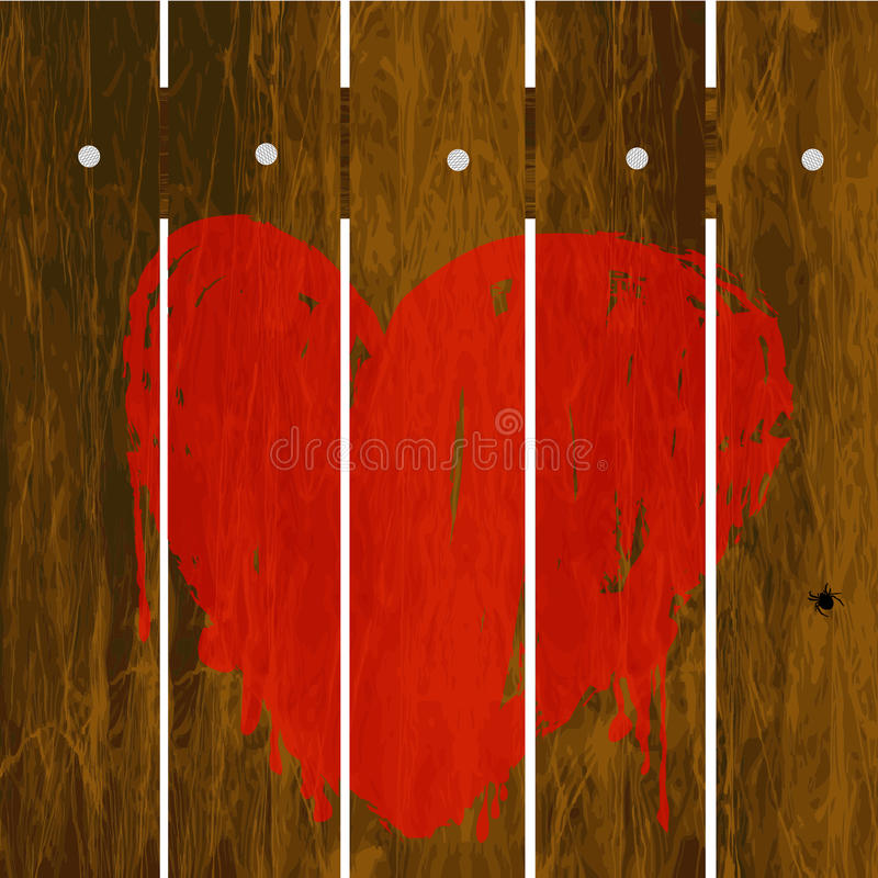 Coração vermelho pintado sobre a cerca de madeira ilustração royalty free