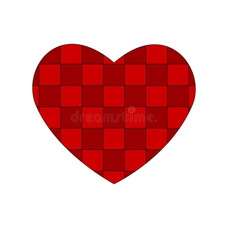 Coração vermelho quadriculado Teste padrão celular da toalha de mesa do teste padrão do dia de Valentim textura da tela da manta  ilustração stock