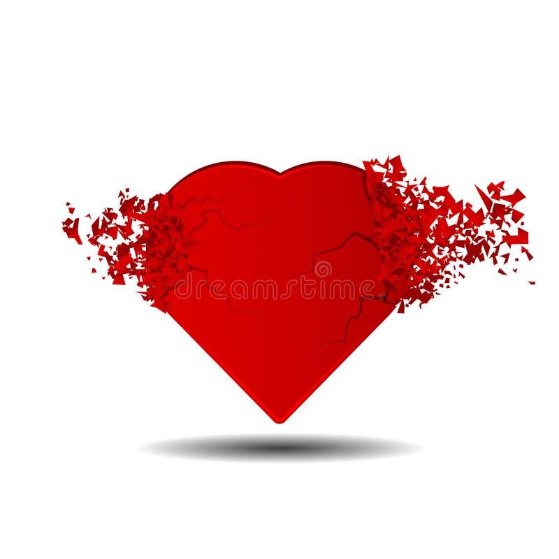 coração vermelho quebrado 3D em um fundo branco ilustração do vetor