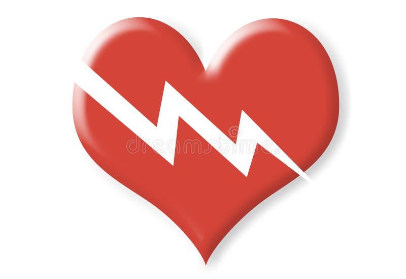 Coração vermelho quebrado duas dimensões ilustração royalty free