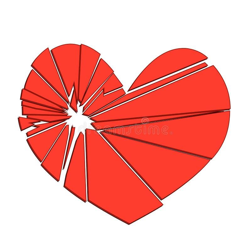 Coração vermelho quebrado em um fundo branco Conceito - divórcio, ilustração stock