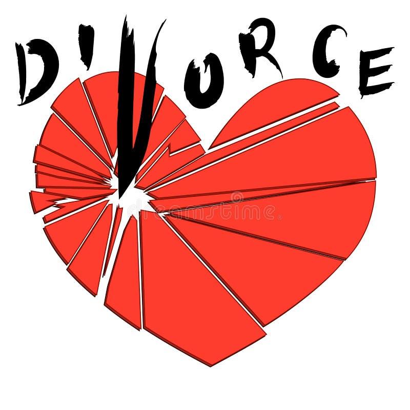 Coração vermelho quebrado em um fundo branco Conceito - divórcio, ilustração royalty free