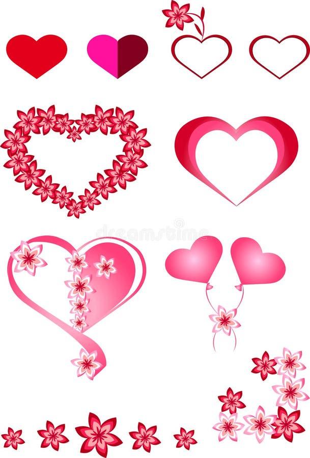 Coração, vermelho, rosa, quadros, bolas infláveis sob a forma dos corações, corações coloridos diferentes, flores, corações bonit ilustração do vetor