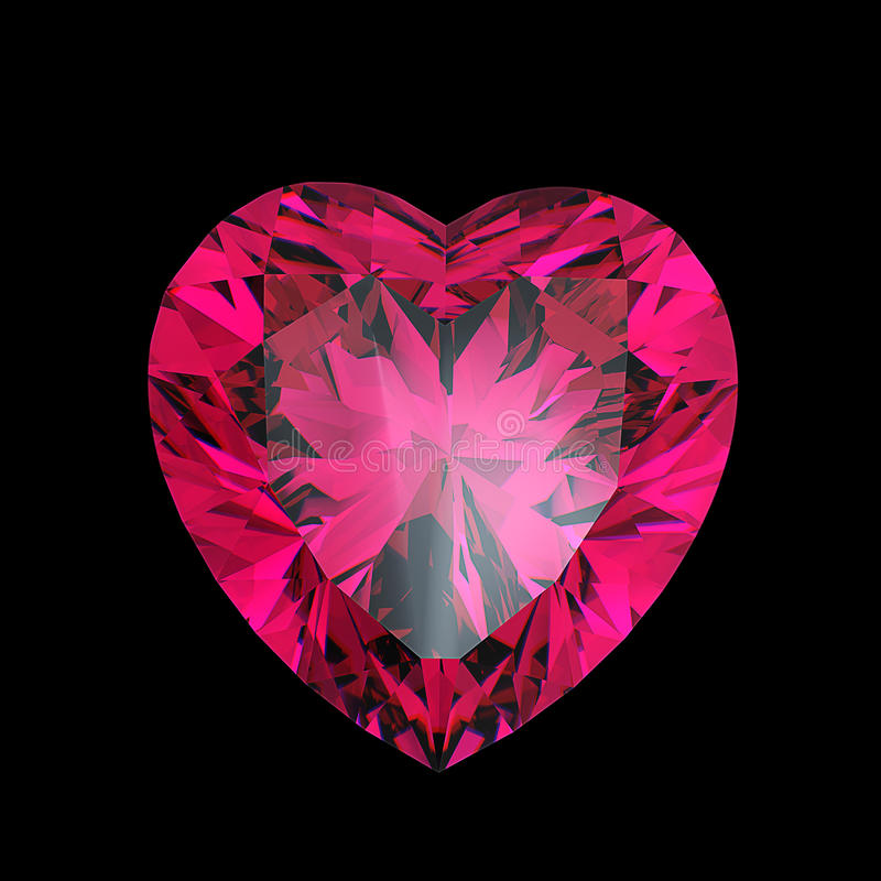 Coração vermelho rubi dado forma ilustração do vetor