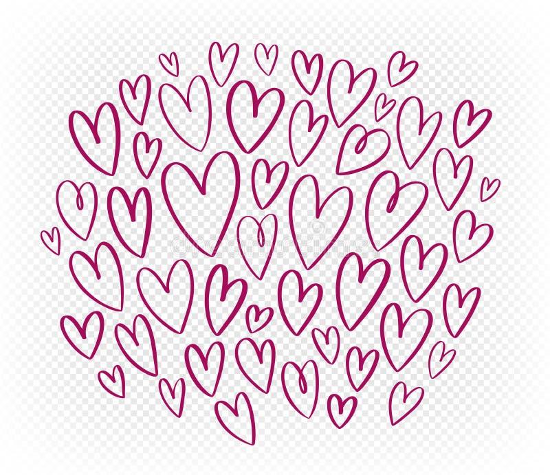 Coração vermelho tirado mão, grupo de elementos Ilustração do vetor do Doodle ilustração stock
