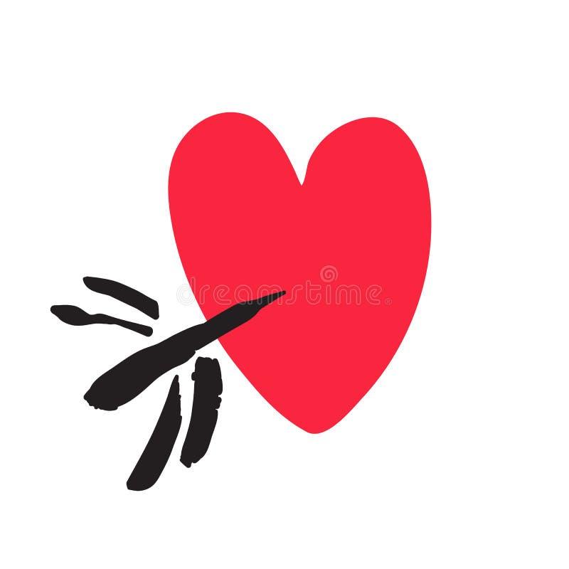 Coração vermelho tirado mão perfurado pela seta Desighn do dia de Valentins Ilustração do vetor ilustração stock