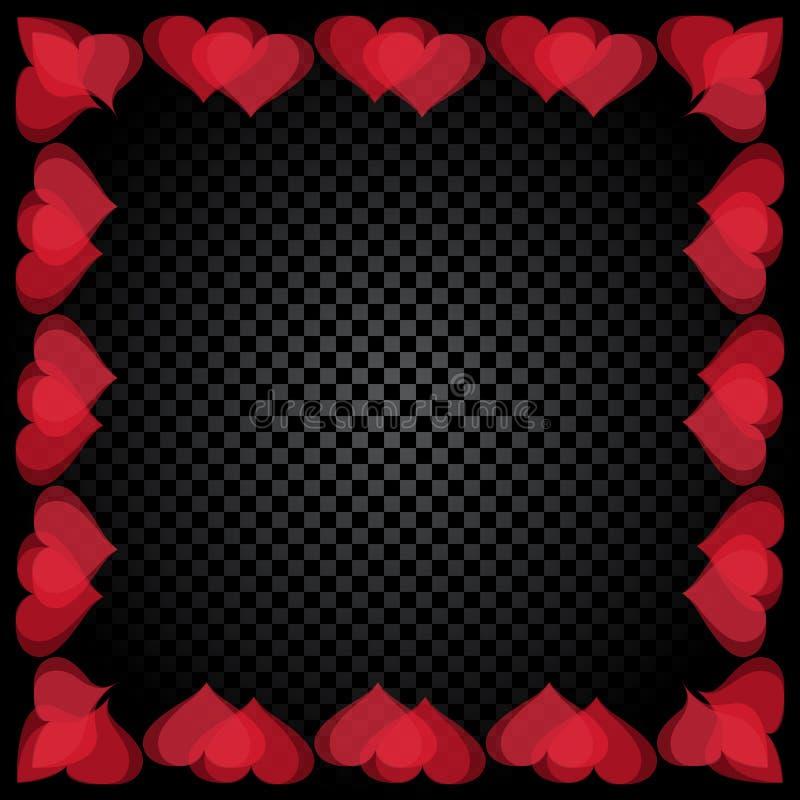 Coração vermelho translúcido o quadro dado forma é encontrado Fundo do verificador do inclinação Dia do `s do Valentim Ilustração ilustração royalty free