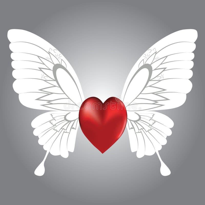 Coração voado ilustração stock