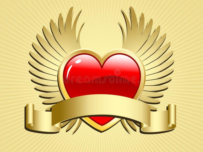 Coração voado com rolo ilustração stock