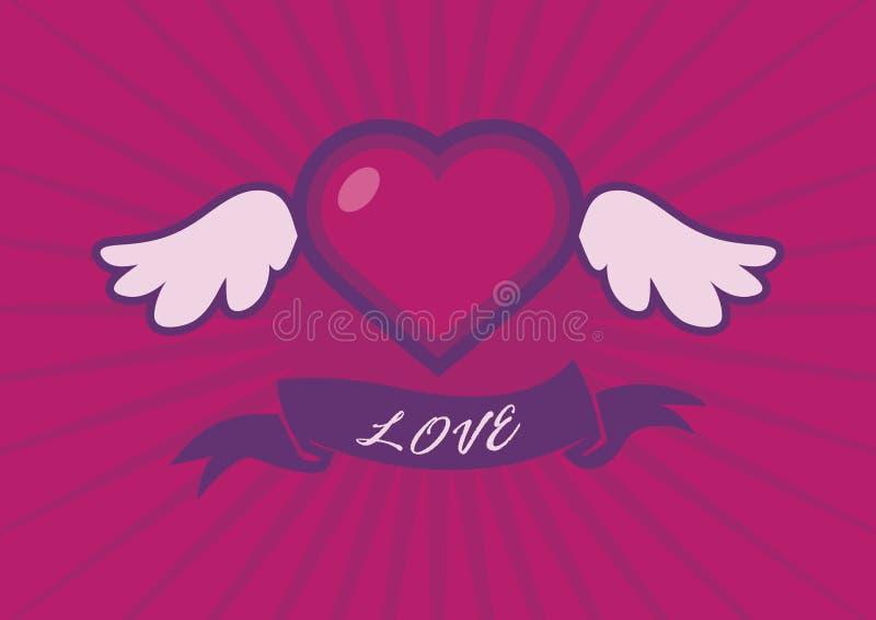 Coração voado com um vetor da fita ilustração stock