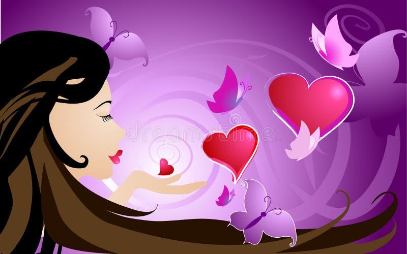 Corações, beijos e borboletas ilustração stock