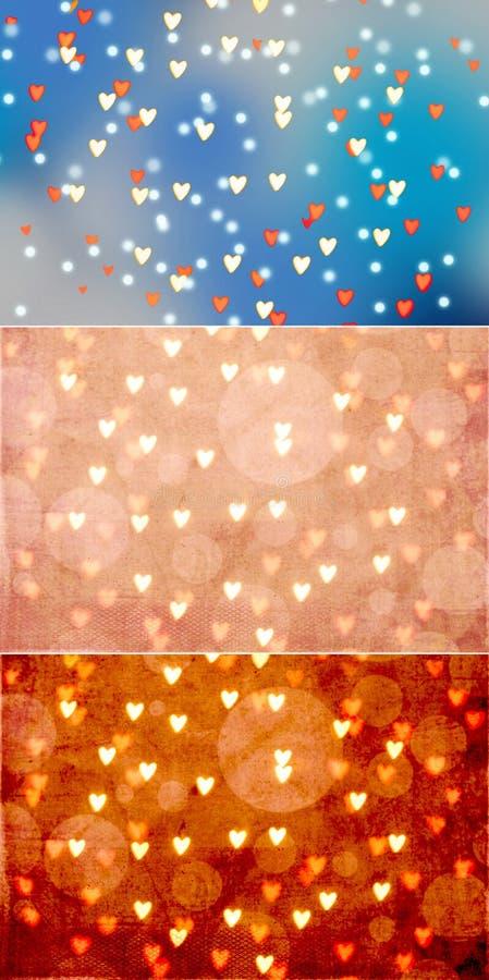 Corações Bokeh em vários fundos - grupo de 3 imagens de stock