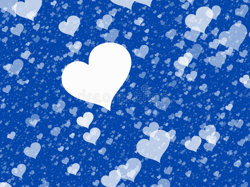 Corações brancos de voo em fundos azuis Textura do amor ilustração stock