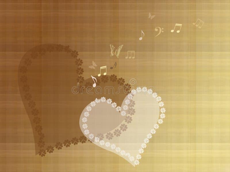 Corações brancos e marrons abstratos com notas e borboletas no fundo velho do papel do vintage ilustração royalty free