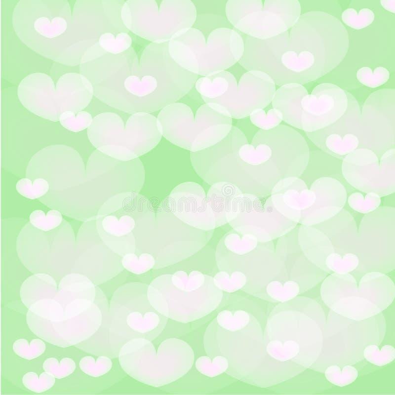 Corações brancos sobre o fundo verde ilustração stock