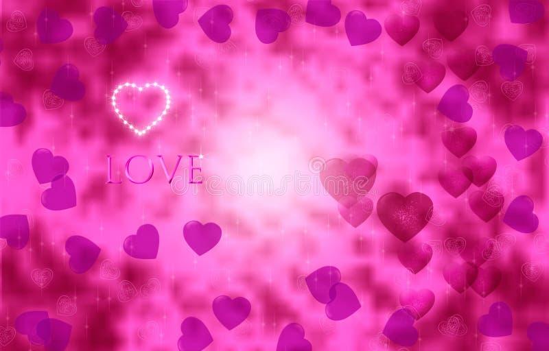 Corações brilhantemente cor-de-rosa em um fundo efervescente bonito Dia do `s do Valentim ilustração do vetor