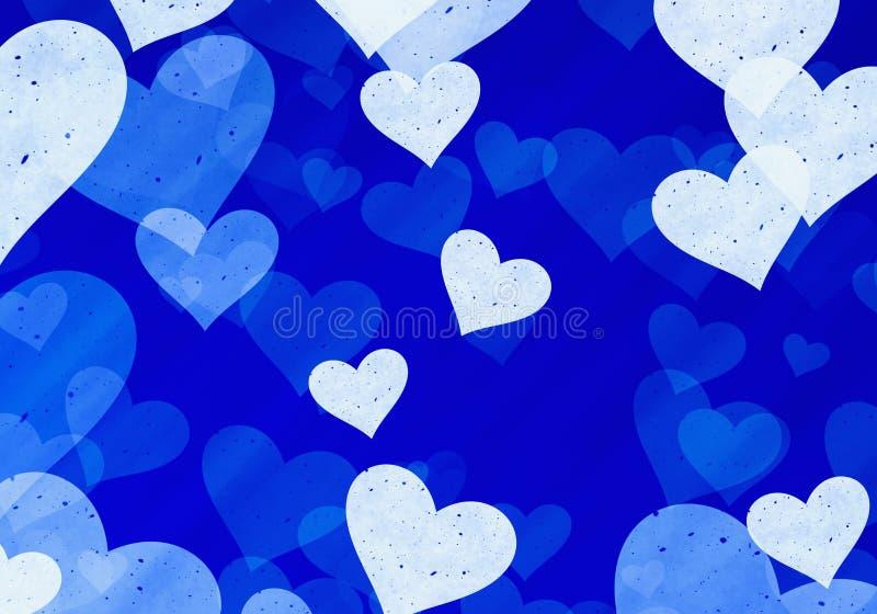 Corações claros sonhadores em fundos azuis ilustração stock