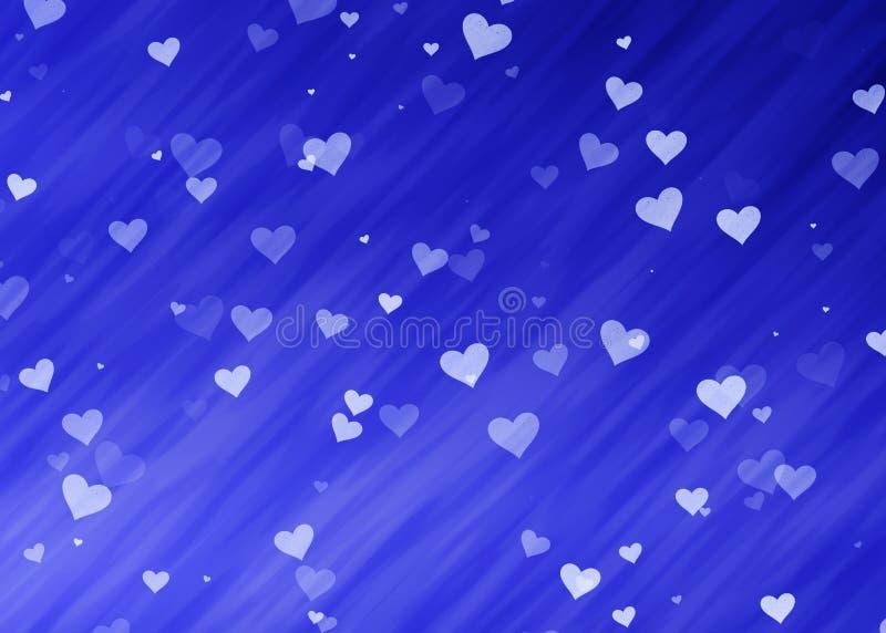 Corações claros sonhadores em fundos azuis ilustração do vetor