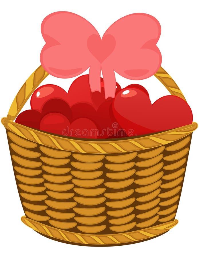Corações coloridos do amor na cesta de vime ilustração do vetor