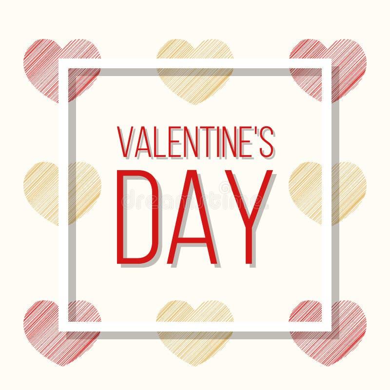 Corações coloridos dourados vermelhos, cartão do dia do ` s do Valentim ilustração royalty free