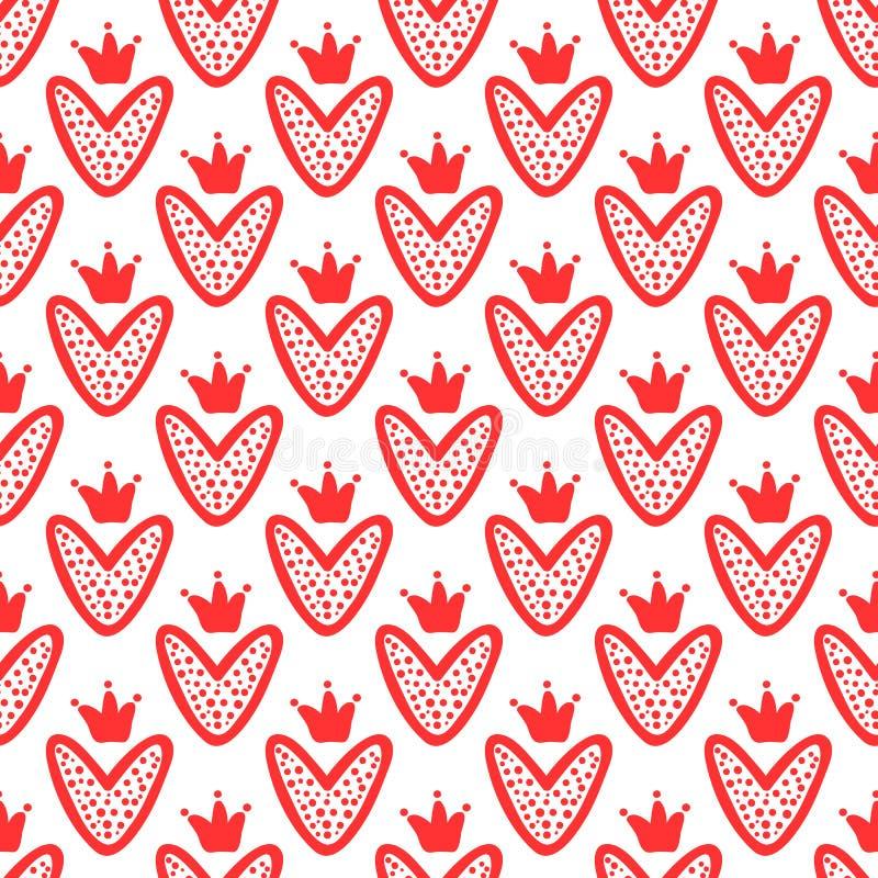 Corações com as coroas tiradas à mão Teste padrão sem emenda bonito Esboço, garatuja, grafitti ilustração do vetor