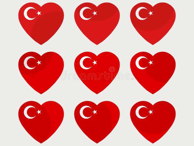 Corações com a bandeira turca Eu amo a Turquia Grupo turco do ícone da bandeira Vetor ilustração stock