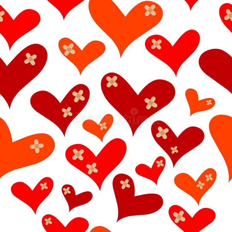 Corações com emplastros médicos ilustração royalty free