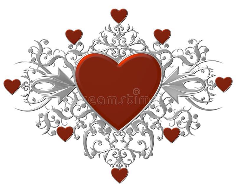 Corações com flourishes de prata ilustração royalty free