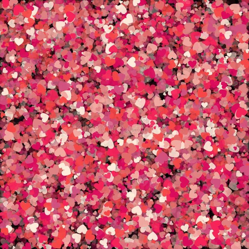Corações como o fundo Conceito do dia dos Valentim folhas do verde da planta do efeito 3d… ilustração do vetor